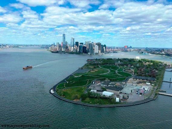Governors Island y Downtown helicóptero Nueva York