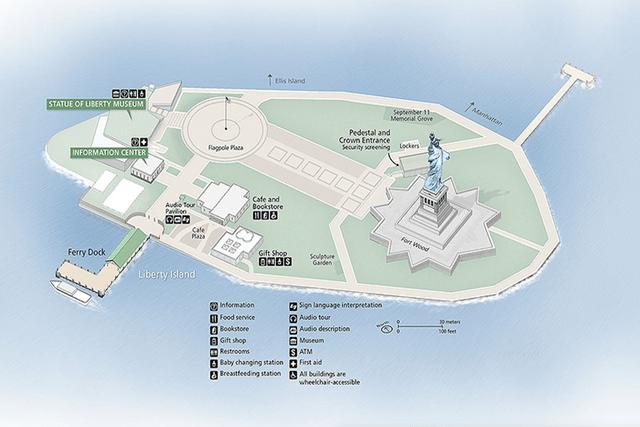 Mapa Liberty Island
